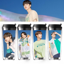 Kpop BTS Water Cup Bangtan Boys Photo Pictorial Straw Cup Double Plastic Cup Accompanying Cup