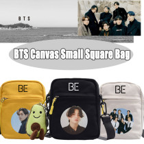 Kpop BTS Shoulder Bag Bangtan Boys Shoulder Bag Canvas Small Square Bag Simple Messenger Bag