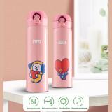 Kpop BTS Water Cup Bangtan Boys Cartoon Cute New Style Vacuum Mug Stainless Steel Gift Water Cup