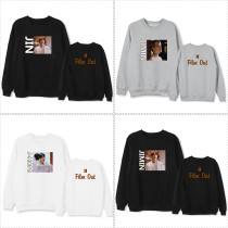 Kpop BTS Sweatshirt Bangtan Boys Pullover Loose Top Film Out Single Round Neck Sweatshirt Sweatshirt