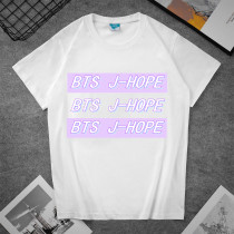Kpop BTS T-shirt Bangtan Boys Letter Print T-shirt Short Sleeve Pure Color Simple Loose Casual Top