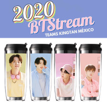 Kpop BTS Water Cup Bangtan Boys Photo Candy Color Straw Cup Double Layer Insulation Water Cup Accompanying Milk Tea Coffee Cup