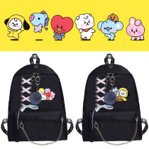Kpop BTS Backpack Bantan Boys Bandage Chain Hair Ball Backpack School Bag Backpack