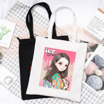 Kpop Blackpink Shoulder Bag Print Literary Fresh Student Shoulder Bag Film Out Single Canvas Bag Shopping Bag