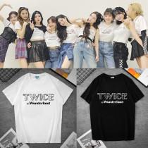 Kpop  TWICE T-shirt  IN Wonderlan  Short-sleeved Couples Print T-shirt Base short sleeve