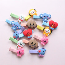 Kpop BTS Hairpin Bangtan Boys Baby Series Cartoon Cute Hairpin Word Clip Headwear Card issuance CHIMMY COOKY KOYA TATA