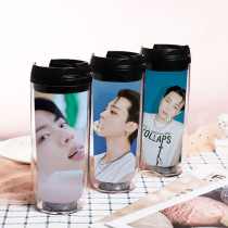 Kpop BTS Water Cup Bangtan Boys Double Plastic Cup Outdoor Travel Leisure Cup Portable Cup