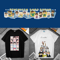 Kpop SEVENTEEN T-shirt Bangtan Boys  Bottoming Shirt Short Sleeve T-shirt Loose Spring and Autumn All-match Casual Top