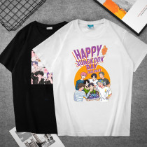 Kpop BTS T-shirt Bangtan Boys JUNGKOOK Birthday Periphery Short-sleeved T-shirt Printed Casual Tops for Men and Women