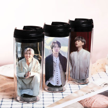 Kpop BTS Water Cup Bangtan Boys versionDouble Plastic Cup Outdoor Travel Leisure Cup Portable Cup