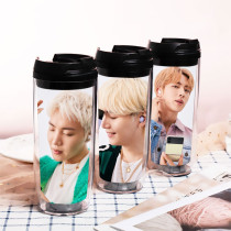 Kpop BTS Water Cup Bangtan Boys version Double Plastic Cup Outdoor Travel Leisure Cup Portable Cup