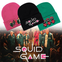 Kpop Squid Game Knitted Hat Autumn and Winter Warm Woolen Hat Dome Hat Crimped Hat
