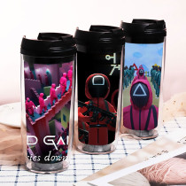 Kpop  Squid Game Water Cup  Double Plastic Cup Outdoor Travel Leisure Cup Portable Cup
