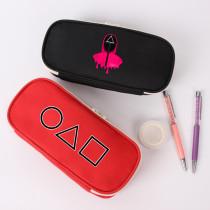 Kpop Squid Game Pencil Case Canvas Stationery Bag Zipper Storage Pen Case