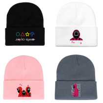 Kpop Squid Game Hat Knitted Hat Multicolor Autumn and Winter Cotton Hat Woolen Hat