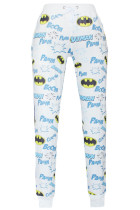 White Fashion Batman Style Print Pants