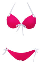 Rosy Push-up Halter Bikini with White Detail