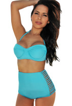 Blue Summer High-waisted Slits Bikini