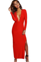 Red Long Sleeve V-neck Split Jersey Maxi Dress