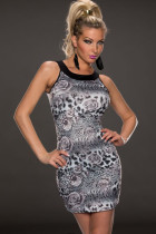 Gray White Rose and Leopard Print Dress