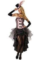 Black Pink Burlesque Fancy Dress Costume