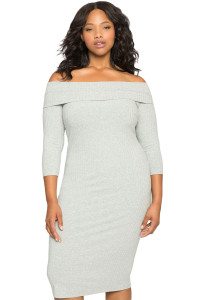 Gray Ribbed Off the Shoulder 3/4 Long Sleeves Plus Dress