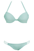 Lake Blue Push up Strappy Halter Bikini Swimwear