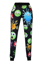 Cute Emoji Print Black Pants