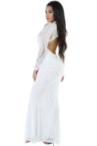 White Knit Floral Mermaid Doll Maxi Dress