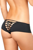 Crotchless Cheeky Boyshorts with Lace up Back
