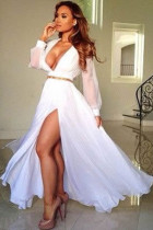 Pure White Layered Sheer Ruffling Jersey Maxi Dress