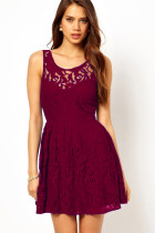 Gorgeous Skater Dress in Lace with Open Back Berry