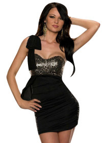 One-shoulder Front Metallic Bodice Pleated Club Dress