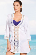 Sexy Casual Crochet Trim White Cover-up