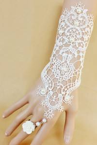White Beaded Embroidered Lace Dress Bracelet with Ring