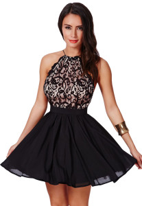 Black Cross Back Lace Detail Party Skater Dress