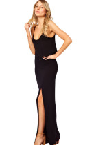 Black Love Crop Jersey Maxi Dress