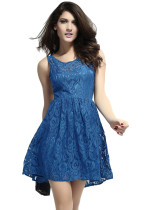 Gorgeous Skater Dress in Lace with Open Back Blue