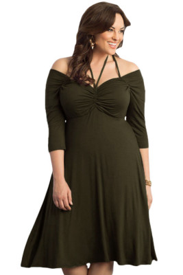 Army Green Enticing Tie Off-shoulder Plus Size Midi Dress