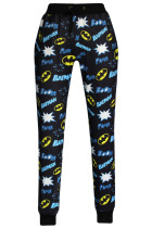Black Fashion Batman Style Print Pants