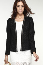 Black Jacquard Jeweled Shawl Small Coat Korean Version Suit