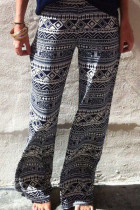 Monochrome Geometric Print Flared Pants