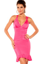Pink Glamorous Ruched Evening Dress