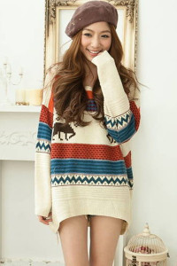 Ivory Retro Multicolor Striped Christmas Deer Winter sweater