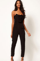 Black Bandeau Jumpsuit with Frill Front