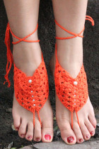 Orange Pearl Embellished Crochet Barefoot Sandals