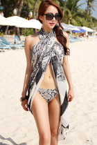 Black White Paisley Beach Cover-up