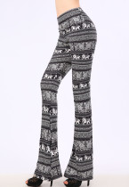 Monochrome Elephant Print Wide Leg Pants