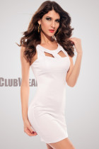 Chest Hollow-out Crew Neck Fashion OL Dress White