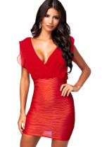 Red Wrap Ruffled V Neck Texture Bodycon Jersey Dress